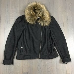 Anthropologie Cartonnier Faux Fur Bomber Jacket